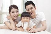 Healthy family and milk — Stock Photo
