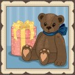 Illustration of Vintage Teddy with gift box  — Stock Vector