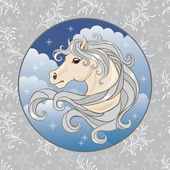 Illustration of a white horse — ストックベクタ