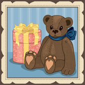 Illustration of Vintage Teddy with gift box — Stok Vektör
