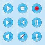 Winter media player buttons — Stock Vector