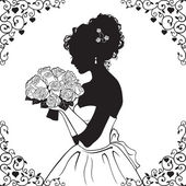 Beautiful bride silhouette — Stock Vector