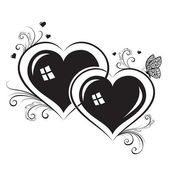 Silhouettes of hearts — Stock Vector
