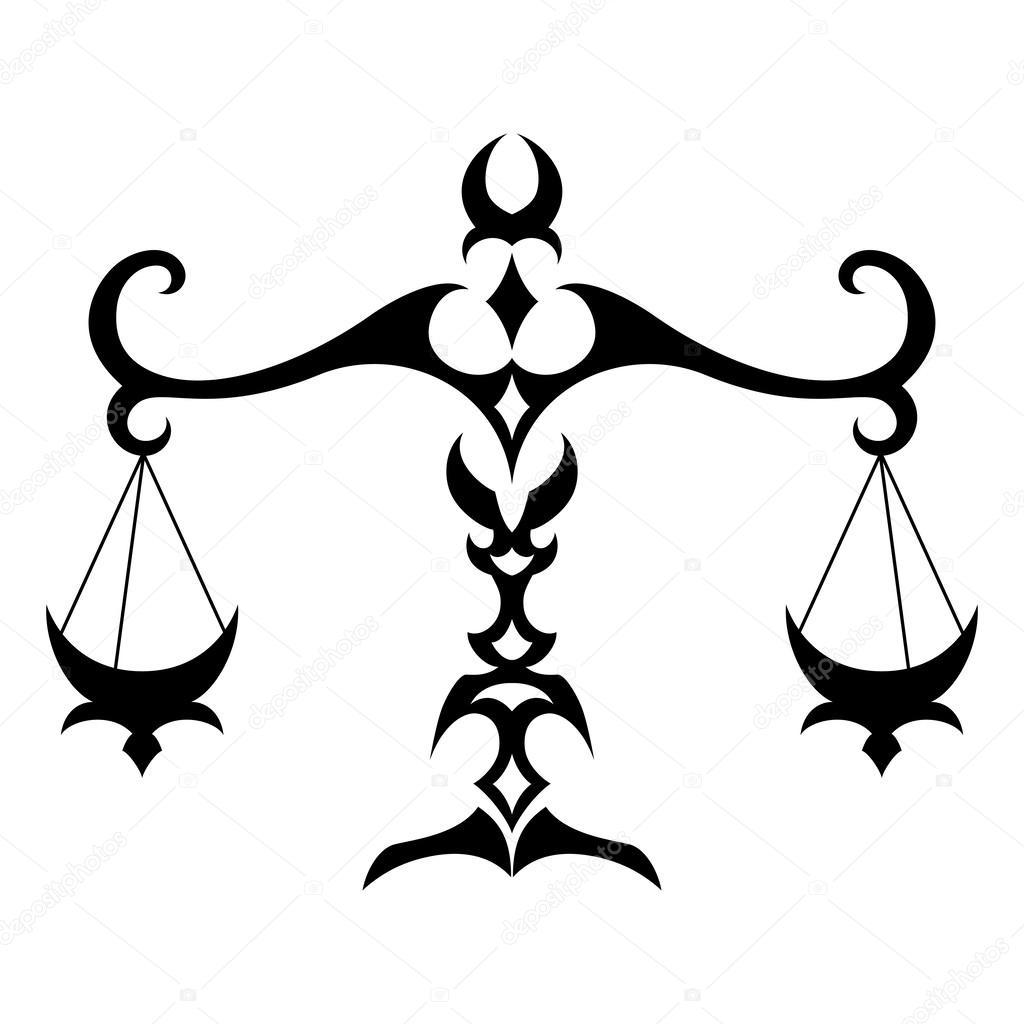 Эскиз тату зодиак весы