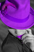 Woman in violet hat. Violet lips and manicure. — ストック写真
