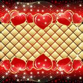 St. hearts-valentine czerwone i złote tło karty z gwiazd — Wektor stockowy