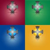 Sphère Croix garnie de sphère coloré à l'intérieur — Vecteur