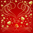Lot of golden hearts on red background — Vecteur