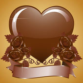 Chocolate heart and chocolate roses with banner — Stock Vector