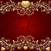 Red Background with golden leaf, hearts and stars — Stock vektor