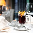 Mulled wine and candle — Stock Photo