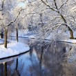 Winter scene of a channel — Stock Photo