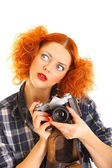 Redhead gilr with old SLR camera — Stock Photo
