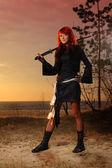 Asian female warrior — Stock Photo