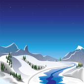 Winter in the mountains — Stock Vector