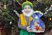 Little gnome on a Christmas tree — Stock fotografie