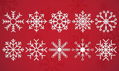 Snow Flake Vector on a deep red background beautifully displayed in pack of ten illustrated snowflakes — Stock Vector