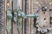Vintage door handle with a seal — Zdjęcie stockowe
