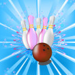 Vecteur: Illustration with image of bowling pins and ball for bowling