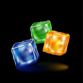 Three volumetric colored cubes on a black background — Stockvector