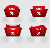 Set of red Sale percent sticker price tag — Stock Vector