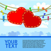 Card on valentine day with a pair of decorative hearts on sky background — Stock Vector