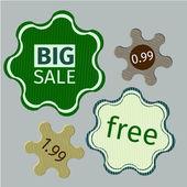Green sale labels in vector — Stock Vector