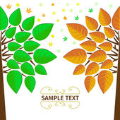 Two Stylized vector trees — Stock Vector