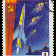 Stamp Soviet Space First sputniks — Stock Photo