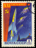 Stamp Soviet Space First sputniks — Stockfoto