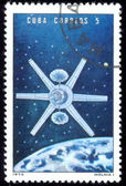 Stamp Soviet Space Station Molnia — Stock Photo