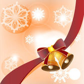 Christmas card with red ribbon and bells vector — Vector de stock