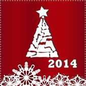Christmas card with Christmas tree and snowflakes on a red background — Vetorial Stock