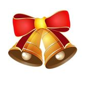 Vector illustration of golden bells for Christmas with a red bow — Vector de stock