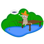 Cat fisherman with a straw hat on the bridge, dreaming of fish — Stock Vector