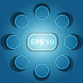 Following convex buttons on a blue mesh background illustration. eps10 vector — Stock Vector