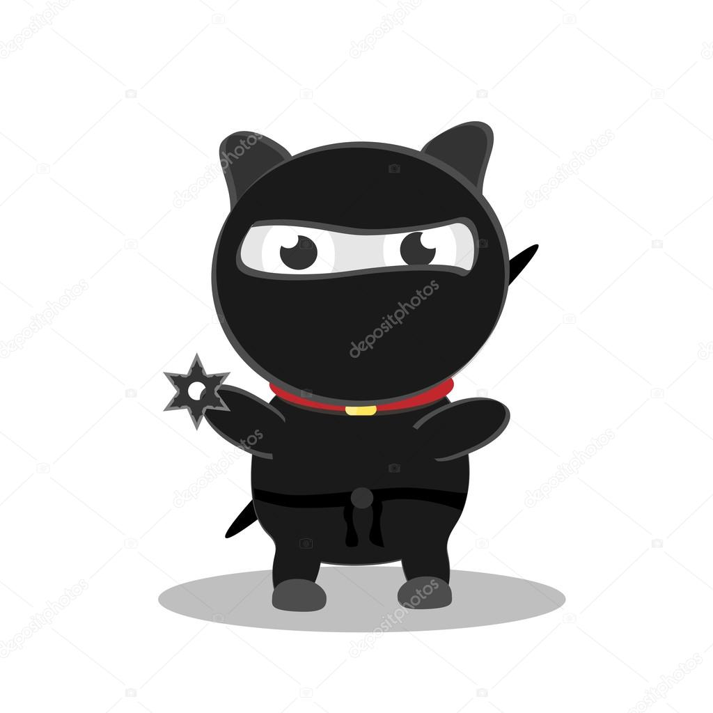 Ninja de chat mignon dessin anim eps10 vector image vectorielle grigorievna 38107839 - Dessin anime ninja ...