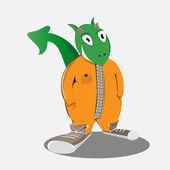 Vector dragon in orange overalls and sneakers.EPS 10 — Stock Vector