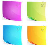 Set of vector multicolored sheets for notes — Stock Vector