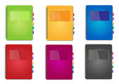 Set of vector multicolored diaries — Stock Vector