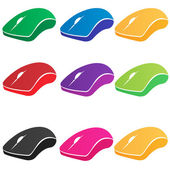 Set of multicolored vector computer mouse — 图库矢量图片