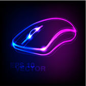 Stylish neon computer mouse vector — Stock Vector