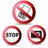 Vector illustration of Stop sign, do not shoot, do not talk on a cell phone — Stock Vector