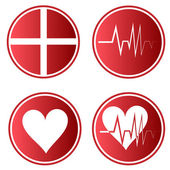 Vector stickers medical, cross, heart rate and heart — Stock Vector
