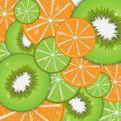 Vector texture or background of oranges and kiwi lime — Stock Vector