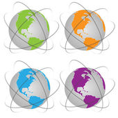 Vector set illustration of planet Earth — Stock Vector