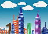 Silueta color de la ilustración city.vector — Vector de stock