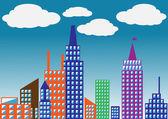 City.vector 图的彩色的轮廓 — 图库矢量图片