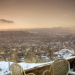 Stock Photo: Chairs set to view beautiful landscape of Goreme, Cappadocia,