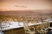 Chairs set to view the beautiful landscape of Goreme, Cappadocia, — Stock Photo